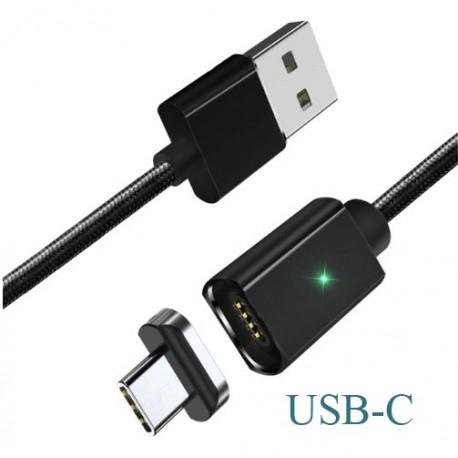 Magnetický kabel ESSAGER + koncovka USB-C, délka 2M černý
