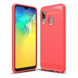 Silikonové pouzdro CARBON pro Samsung Galaxy A20e A202F červené