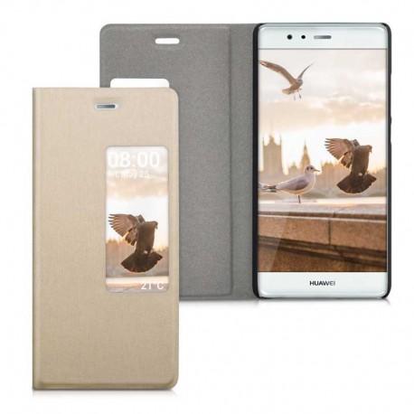 Slim flipové S-View pouzdro pro Huawei P9 zlaté