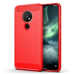 Silikonové pouzdro CARBON pro Nokia 7.2 červené